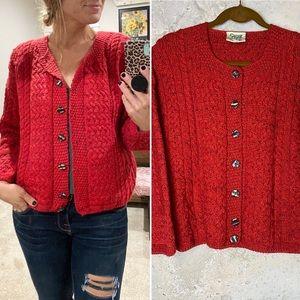 Carraig donn Aran red orange wool button cardigan